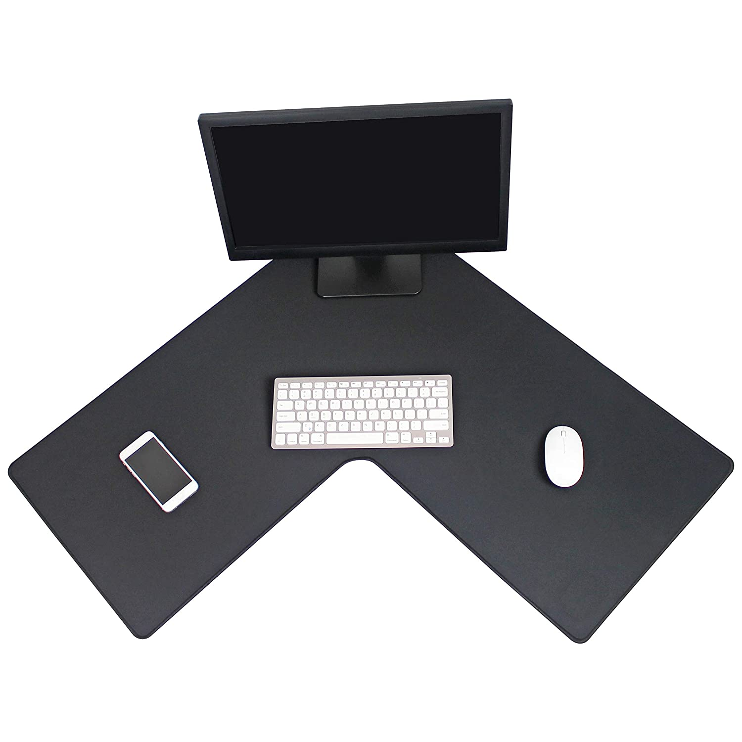 Ideal for L Shaped Desks and Gaming Setups Water Resistant 3mm Thickness Stitched Edges LPadds L Shaped Mouse Pad Large//Black