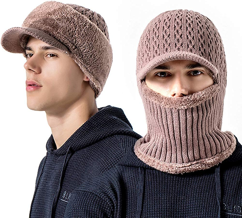 Mens Thicken Siamese Knit Beanie Hat Scarf with Visor Windproof Earmuffs Ski Cap