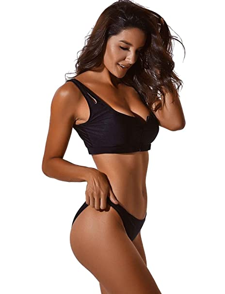 3974b010de537 Amazon.com: COLO Women Sexy Zip Front Two Piece Swimsuit Push up Top Solid  Bikini Sets Bathing Suits Swimwear Low Cut: Clothing