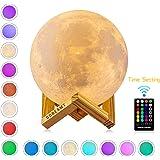 Mondlampe, GDREAMT 16 Farben 3D Mond lampe 15 cm, Remote & Touch Control/Timing-Funktion/Dimmbar/ USB Wiederaufladbare Nachtlampe Dekorative Licht für Kinder Geschenk (15CM)