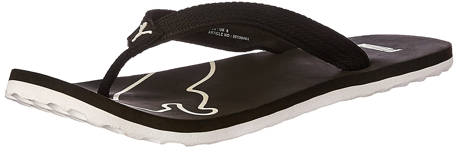 c3d1792da0b6 Puma Men s Colaba DP Black and White Rubber Flip-Flops and House Slippers -  11 UK India(46EU)  Buy Online at Low Prices in India - Amazon.in