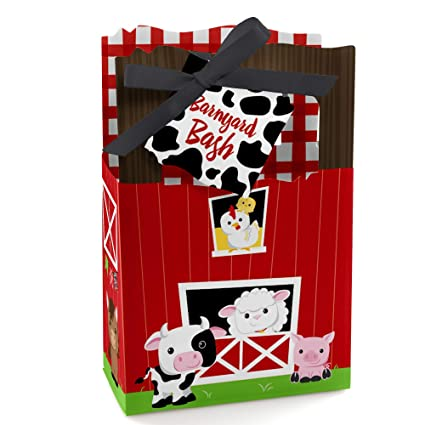 388fa06afdb8e Amazon.com: Farm Animals - Baby Shower or Birthday Party Favor Boxes - Set  of 12: Toys & Games