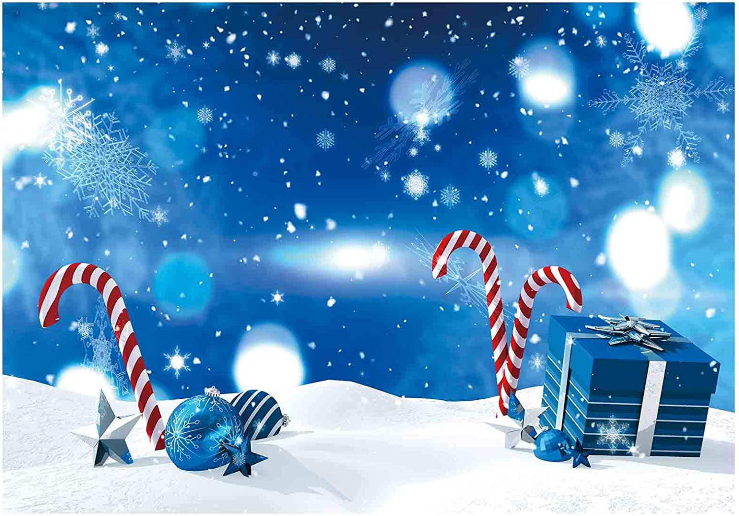 Funnytree Winter Blue Wonderland Theme Backdrop for Boy Baby Shower Birthday Party Photography Background Christmas Snowflake Bokeh Glitter Decor Portrait Cake Table Banner Photo Studio Props 7x5ft