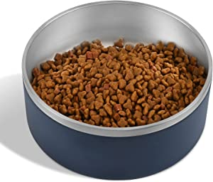 Dog Bowl, Stainless Steel Dog Bowl with 8Pcs Anti-Skid Rubber Stickers, No Spill Food and Water Bowl, Metal Food and Water Dish, Pet Feeder Bowls for Medium Large Dogs, Cats - 64Oz (8 Cup, Navy Blue)