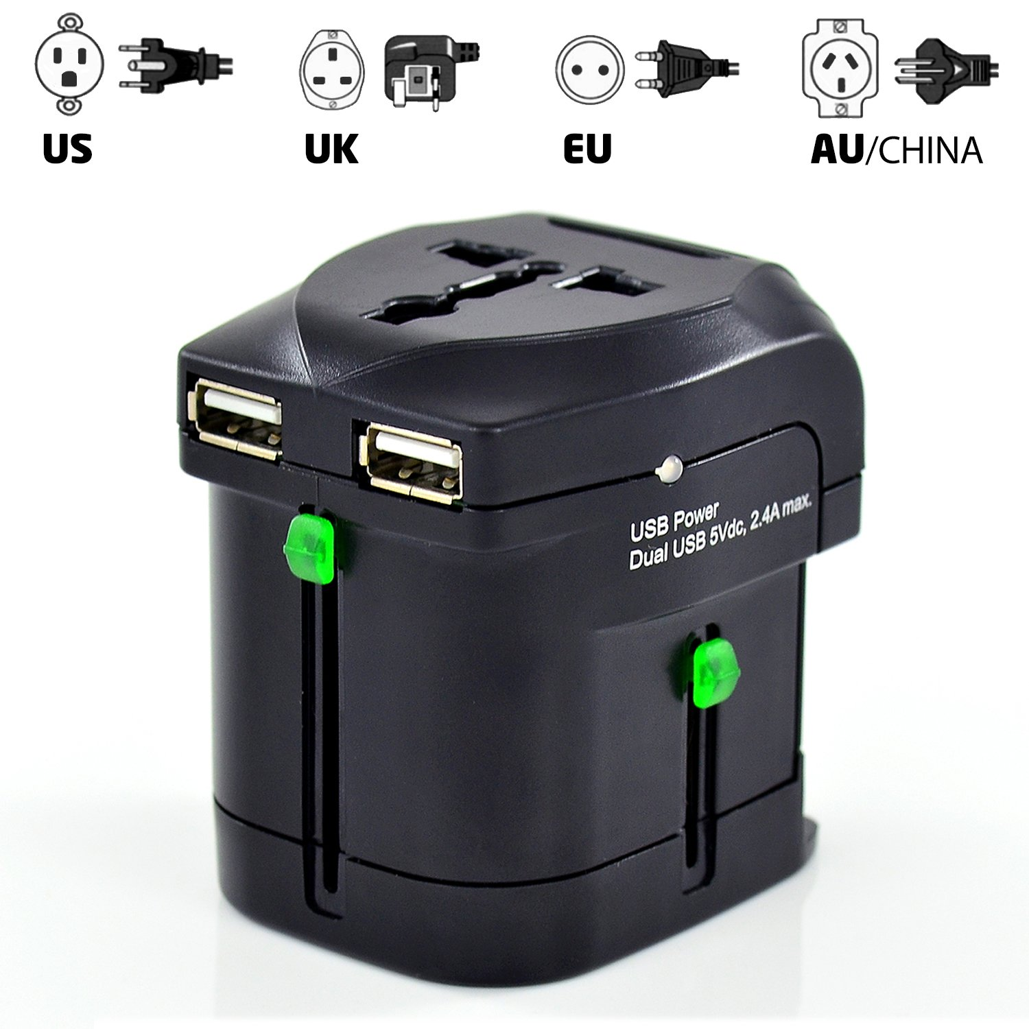 Otimo World Power Adapter Travel with Dual USB Charging Ports - Works in over 200 Countries!