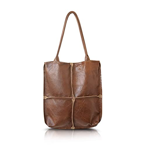 40e713283950 Amazon.com  Extra large durable leather brown tote shoulder bag for women