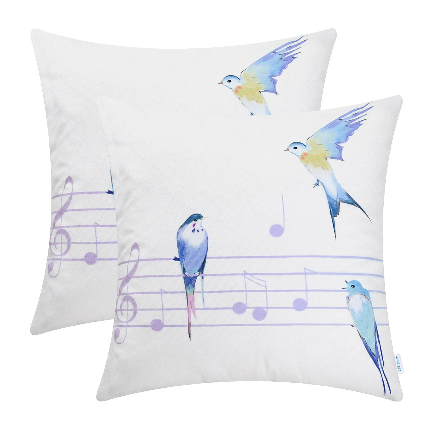 CaliTime Pack of 2 Cozy Fleece Throw Pillow Cases Covers Couch Bed Sofa Watercolored Birds in Music Wire 18 X 18 inches Multi Colors