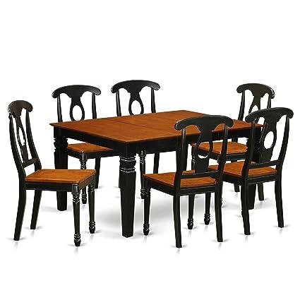 Amazing Amazon Com East West Furniture Weston Weke7 Bch W 7 Pc Set Beatyapartments Chair Design Images Beatyapartmentscom