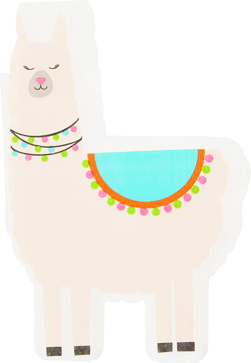 Llama Paper Napkins for Fiesta Birthday Party (4.2 x 6.25, 50 Pack)