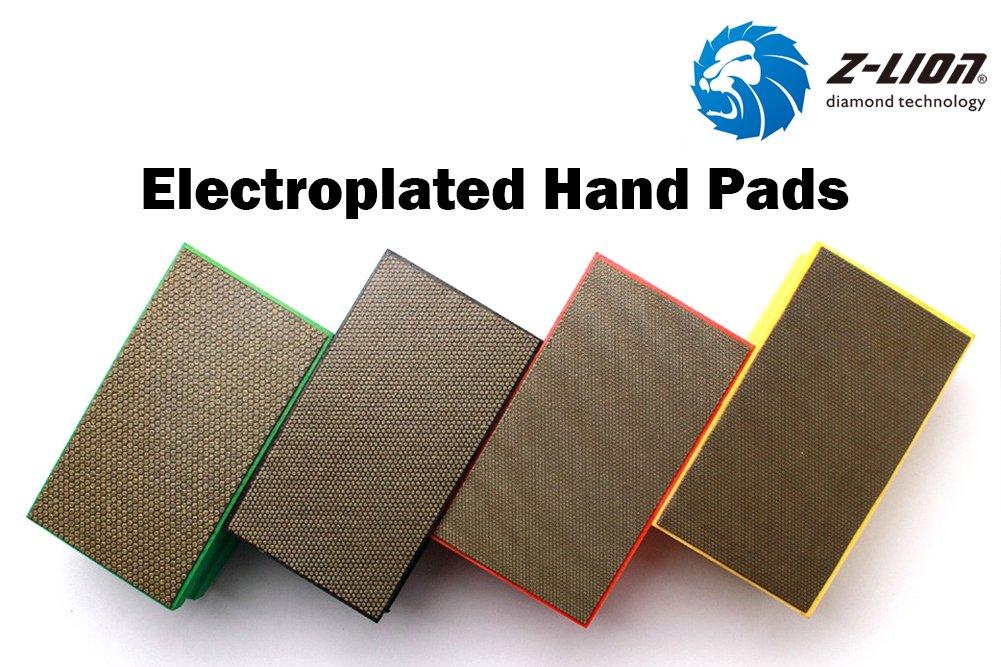 Z-Lion Diamond Hand Polishing Pads Arc Shape Back for Glass Granite Marble Quartz-Pack of 7 Pcs