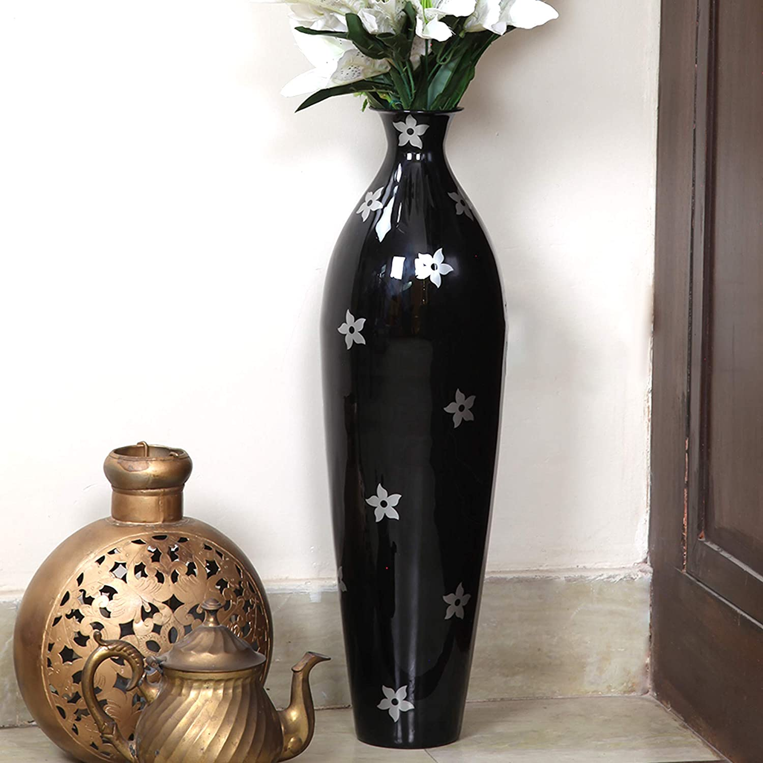 Buy Alnico Decor Metal Flower Vase 26 Inches Black Online At Low Prices In India Amazon In