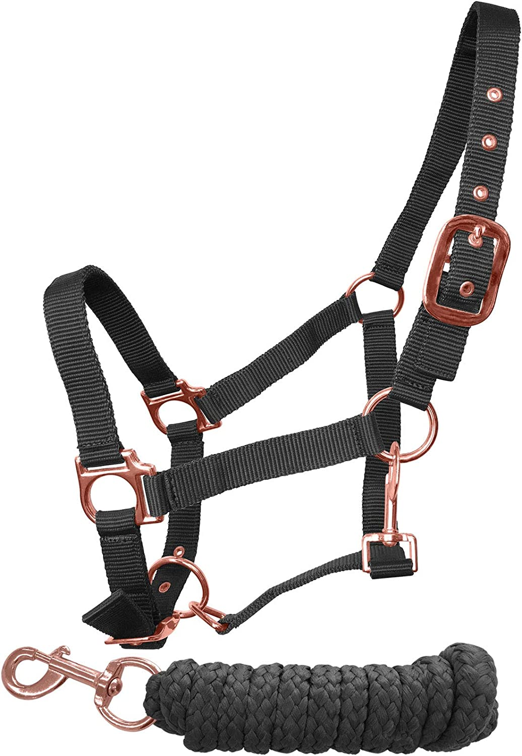 tigerbox Pink Adjustable Nylon Horse Headcollar Lead Rope Set with Rose Gold Fittings Small Pony