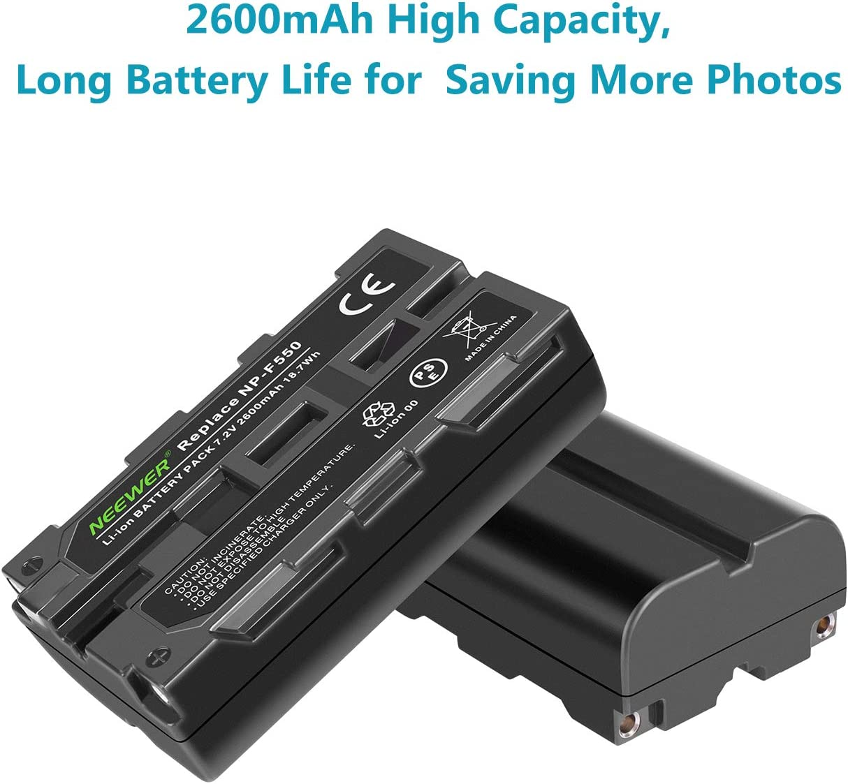 2-Pack 2600 mAh Replacement Camera Batteries, Micro USB and Type-C Input Dual Charger Neewer NP-F550 Battery Charger Set for Sony NP-F970 F750 F960 F530 F570 CCD-SC55 TR516 TR716 and More