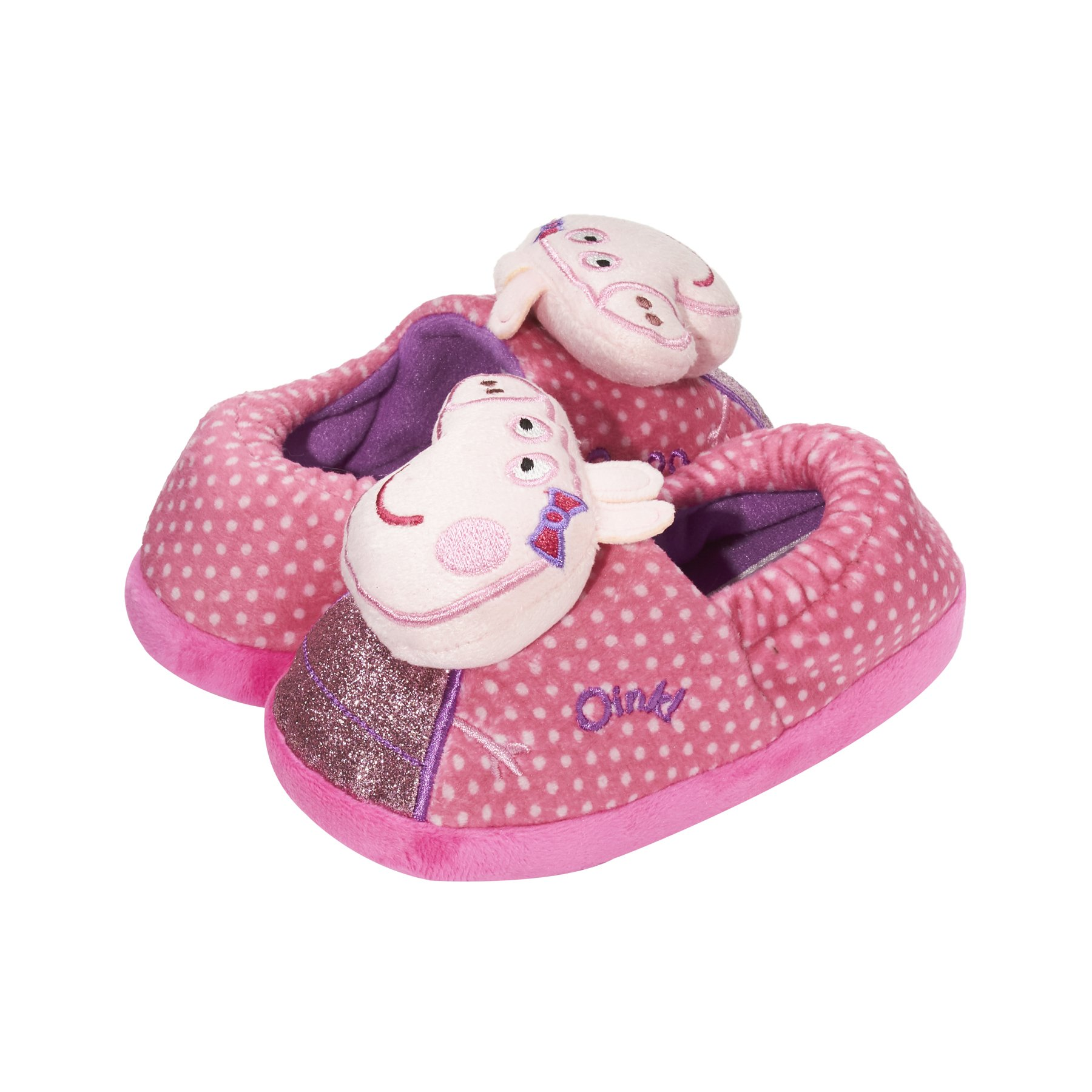 Peppa Pig Kids Toddler Girls Shimmer & Polka Dot Audio Slippers Pink Small