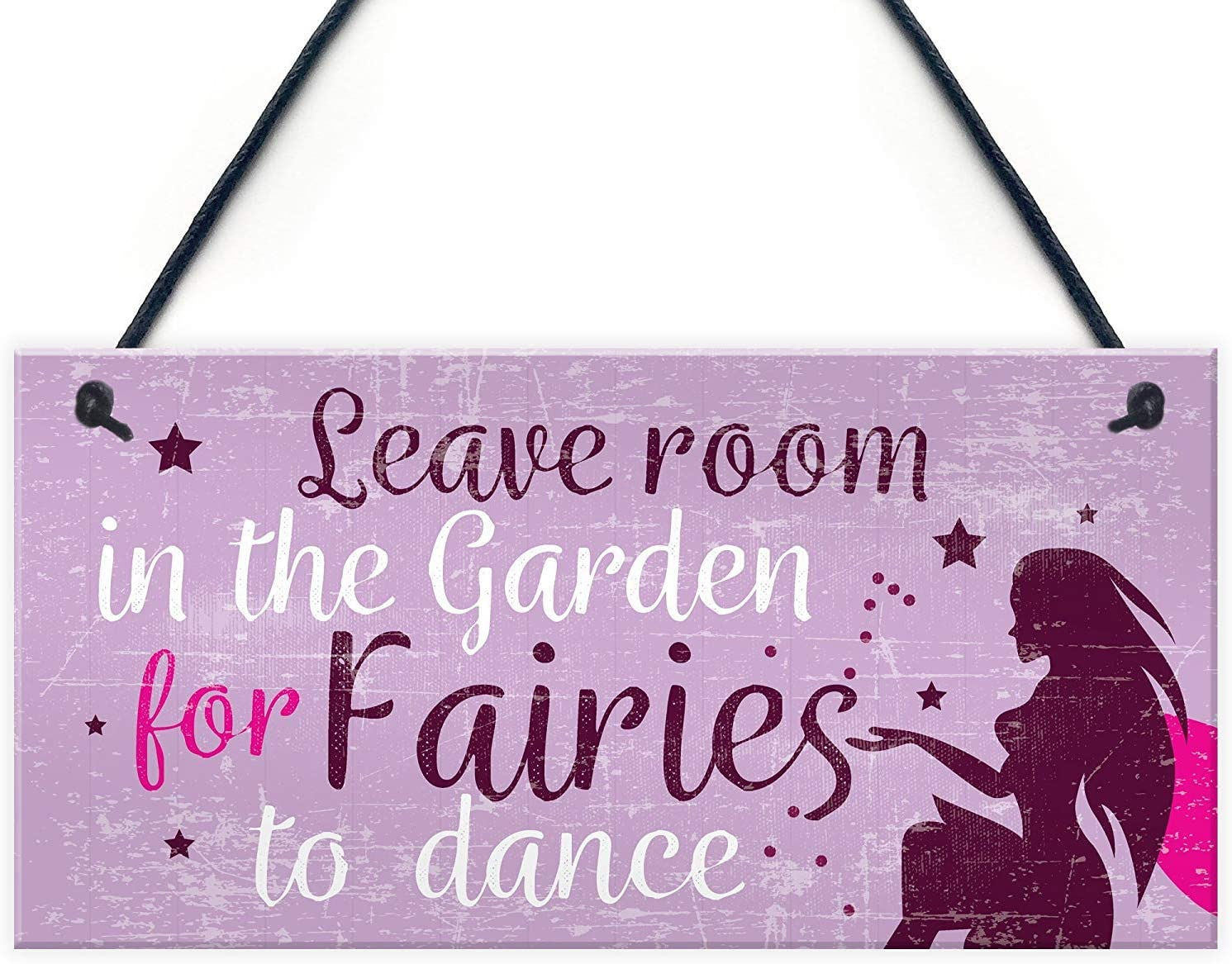 """Meijiafei Garden Sign Garden Shed Hanging Plaque Leave Room for Fairies Summerhouse Sign Friendship Gift 10"""" X 5"""""""