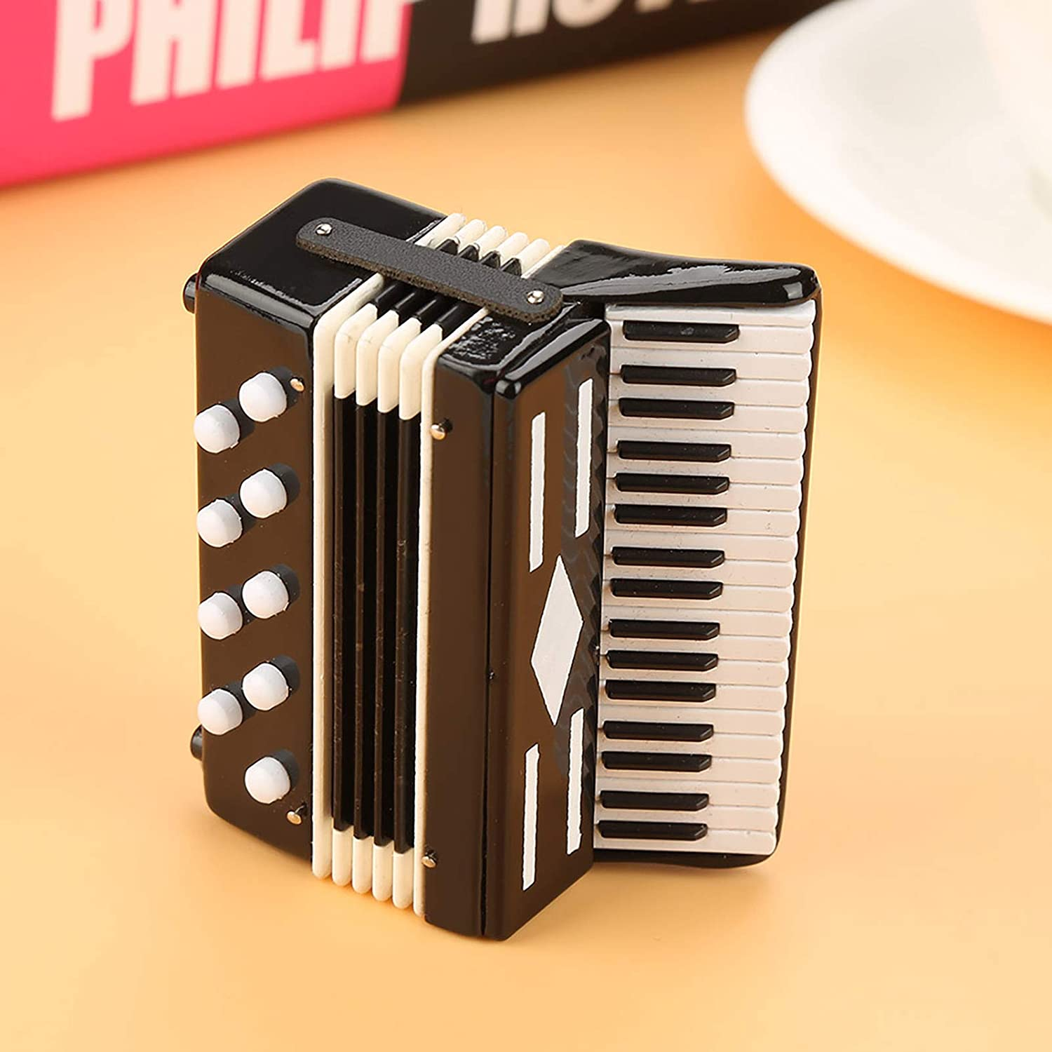 Miniature Accordion Model Metal Accordion Model 14cm Dollhouse Musical Instrument Small Craft Ornaments for Craft Home Coffee House Ornament