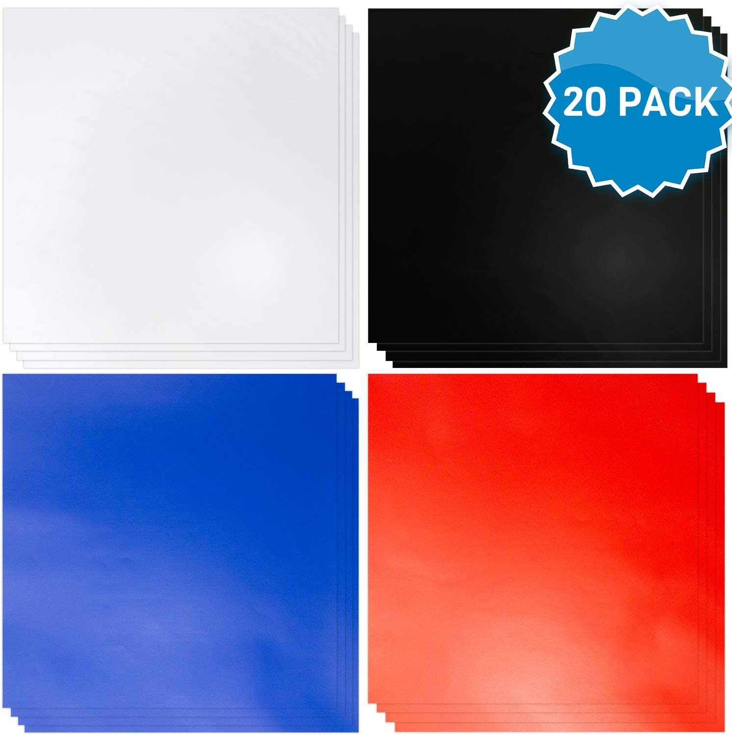 """Vinyl Sheets with Adhesive [20, 12""""x12"""" Sheets] Matte Blue, Red, Black & White Permanent Self Adhesive Vinyl Sheets like Oracle 651 Vinyl Rolls. Permanent Vinyl for Cricut, Silhouette or Outdoor Vinyl"""