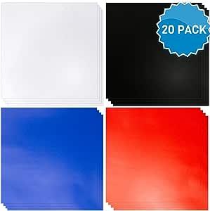 Láminas de Vinilo con Adhesivo [Paquete de 20] Láminas de Vinilo en Azul, Rojo, Negro y Blanco Como los Rollos de Vinilo Oracle 651. Vinilo para Cricut, Silhouette y Más. Interiores y