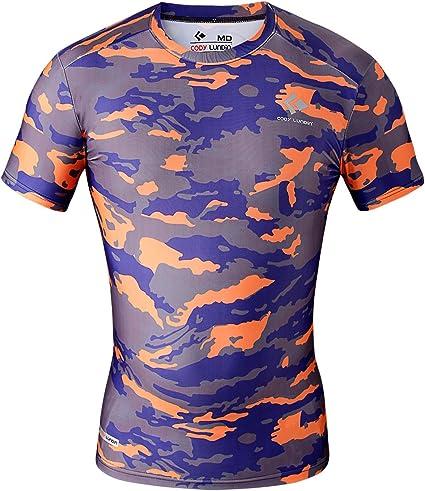 Cody Lundin® Hombre Fitness Mosaico Camo Manga Corta Camisa Sport Compresión Corto Mangas Camiseta de impresión Ropa de Camuflaje