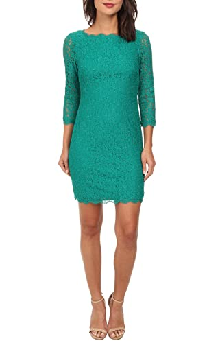 Berydress 3/4 Sleeve Full Zip Back Short Lace Cocktail Dress