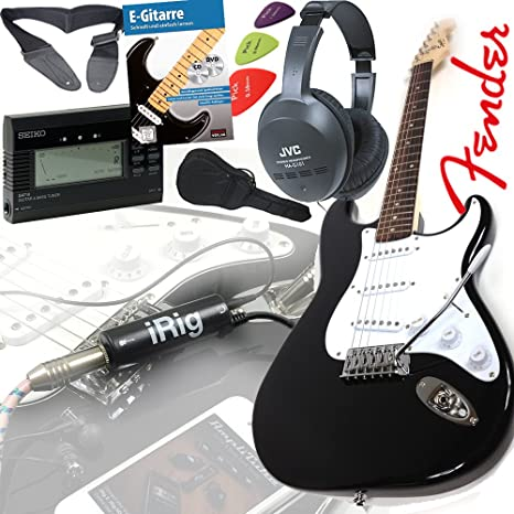 Fender Squier Bullet Strat guitarra eléctrica en negro + iRig Guitarra Interfaz para iPhone y iPad ...