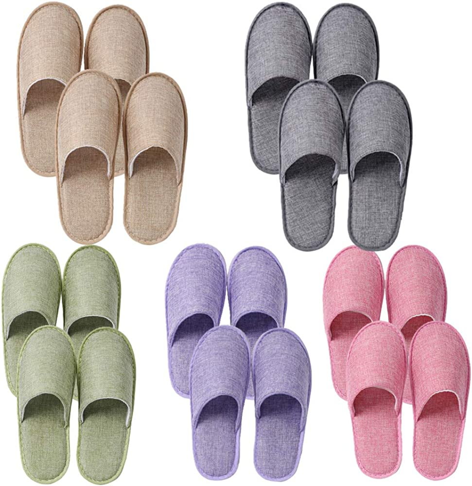 UILB 10 Disposable Home Slippers for Family Guests Hotels - Thickened Soles Linen Breathable Fabrics - Mixed Multi-Color Slippers Home Party, Housewarming Beige