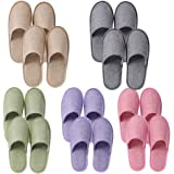 UILB 10 Disposable Home Slippers for Family Guests Hotels - Thickened Soles Linen Breathable Fabrics - Mixed Multi-Color…