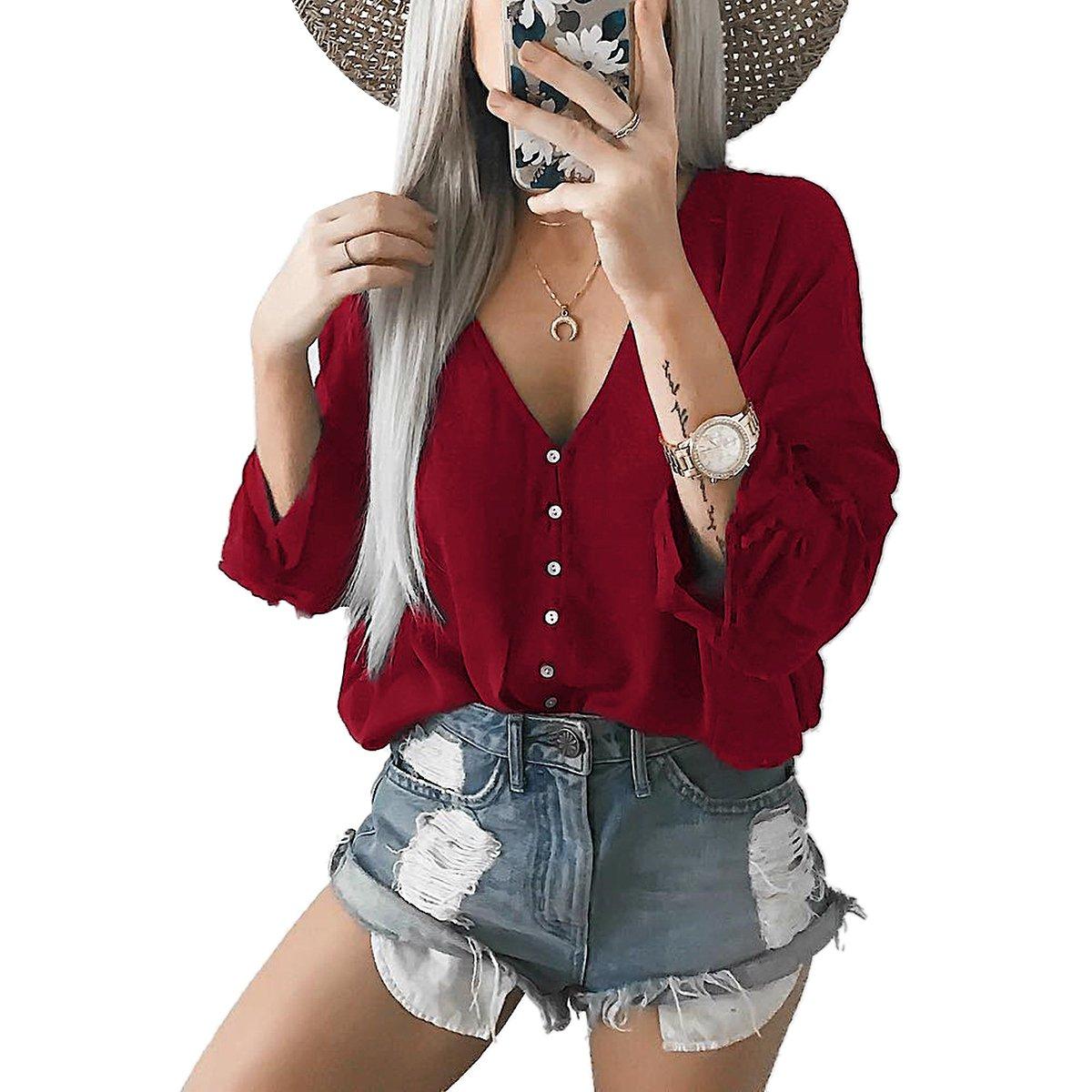 YF Women V Neck Long Sleeve Pure Color Casual Loose T-shirt Blouse Top Yin Feng YF109083B