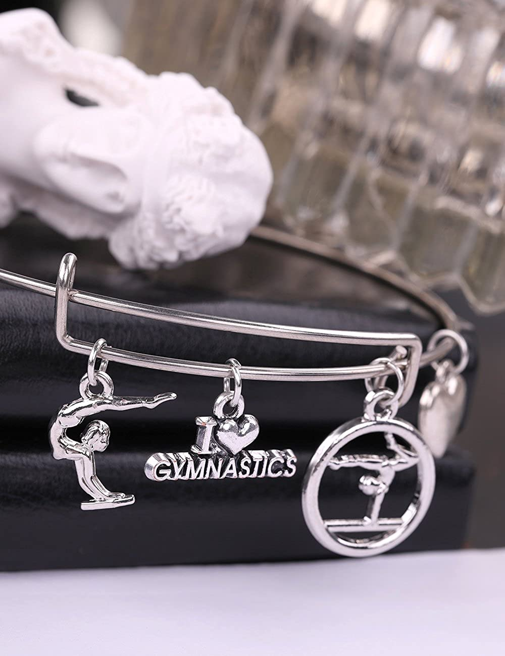 Skyrim I Love Gymnastic Heart Pattern Pendant Stainless Steel DIY Bracelet for Chritmas Gift