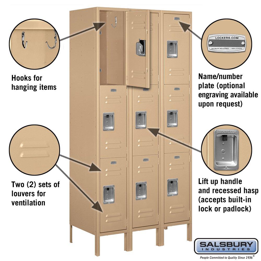 Tan Brown Salsbury Industries 63168TN-U Triple Tier 12-Inch Wide 6-Feet High 18-Inch Deep Unassembled Standard Metal Locker