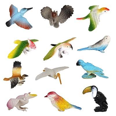 12pcs Juguetes Modelo de Pájaros de Plástico Juguetes Plásticos: Juguetes y juegos