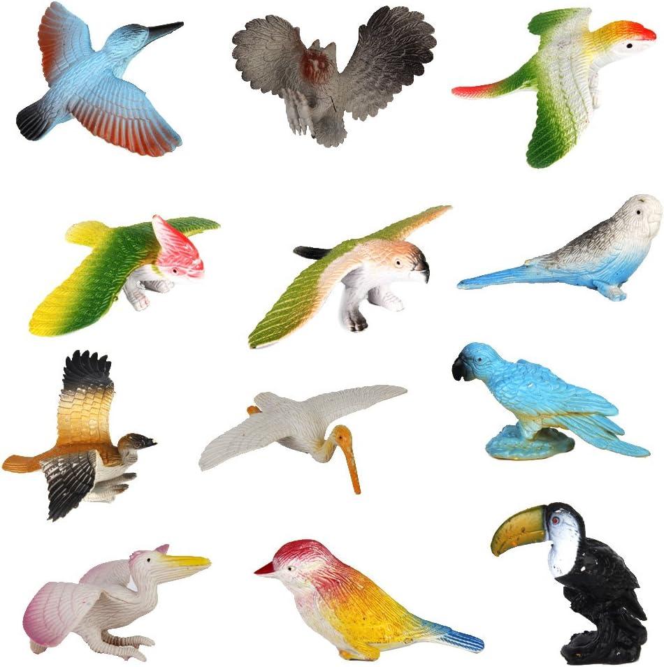12pcs Juguetes Modelo de Pájaros de Plástico Juguetes Plásticos