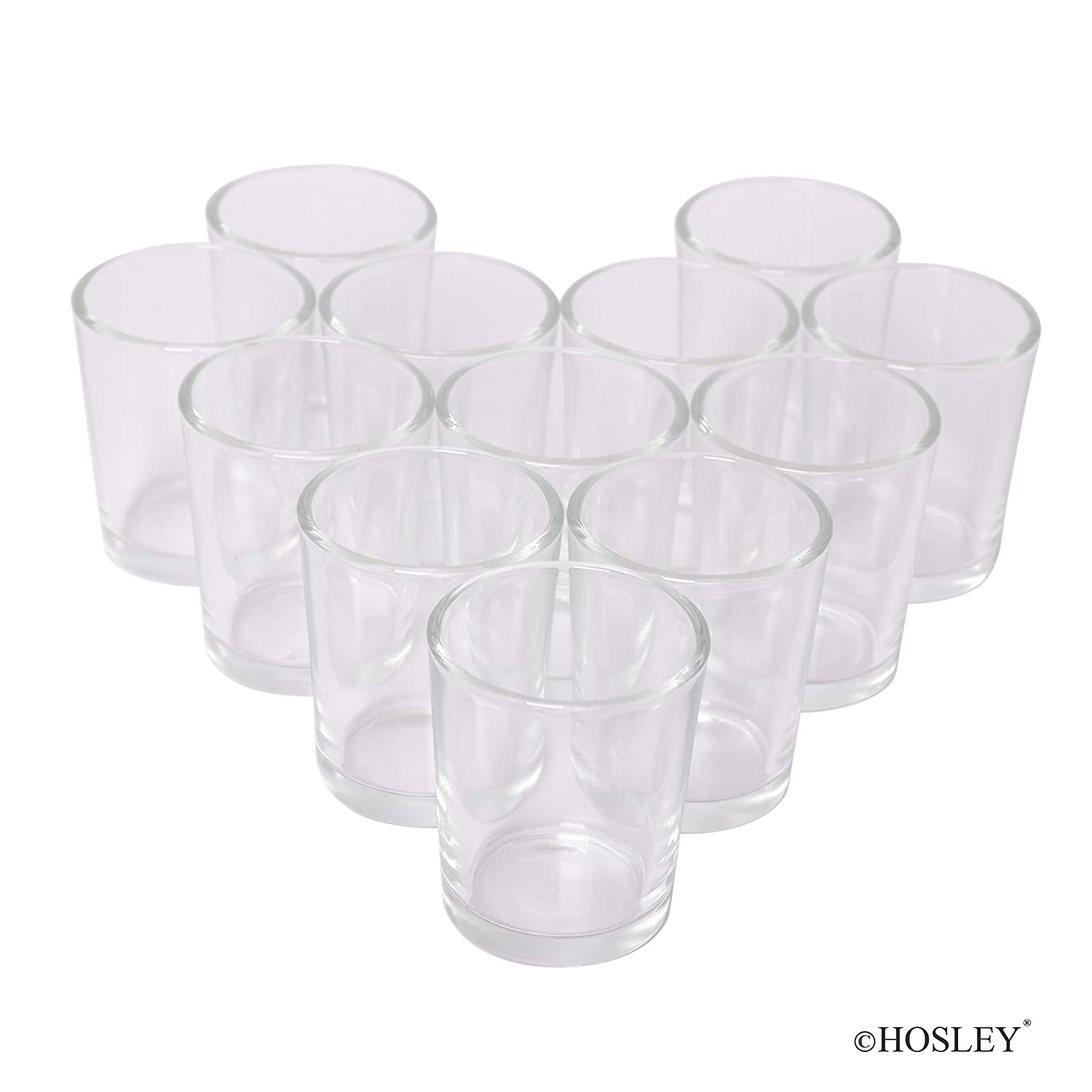 Hosley Set of 12 Votive//Tealight Holders 2-Clear Parties Ideal for Weddings Your Choice of Colors and Special Events