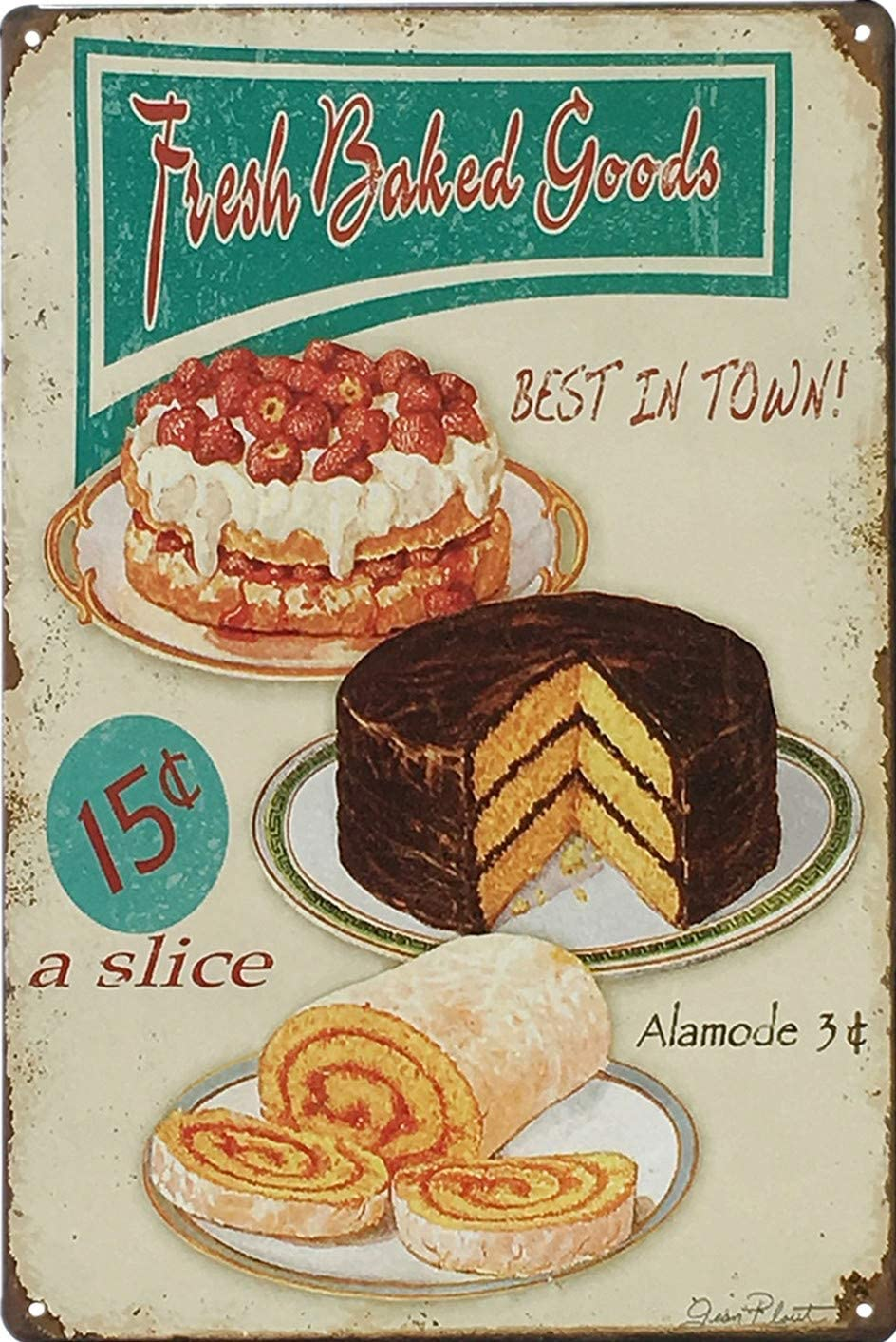 UNIQUELOVER Kitchen Signs Wall Decor Rustic, Fresh Baked Goods Best in Town  Vintage Retro Metal Tin Sign Wall Plaque Poster 17 x 17 Inches, Small