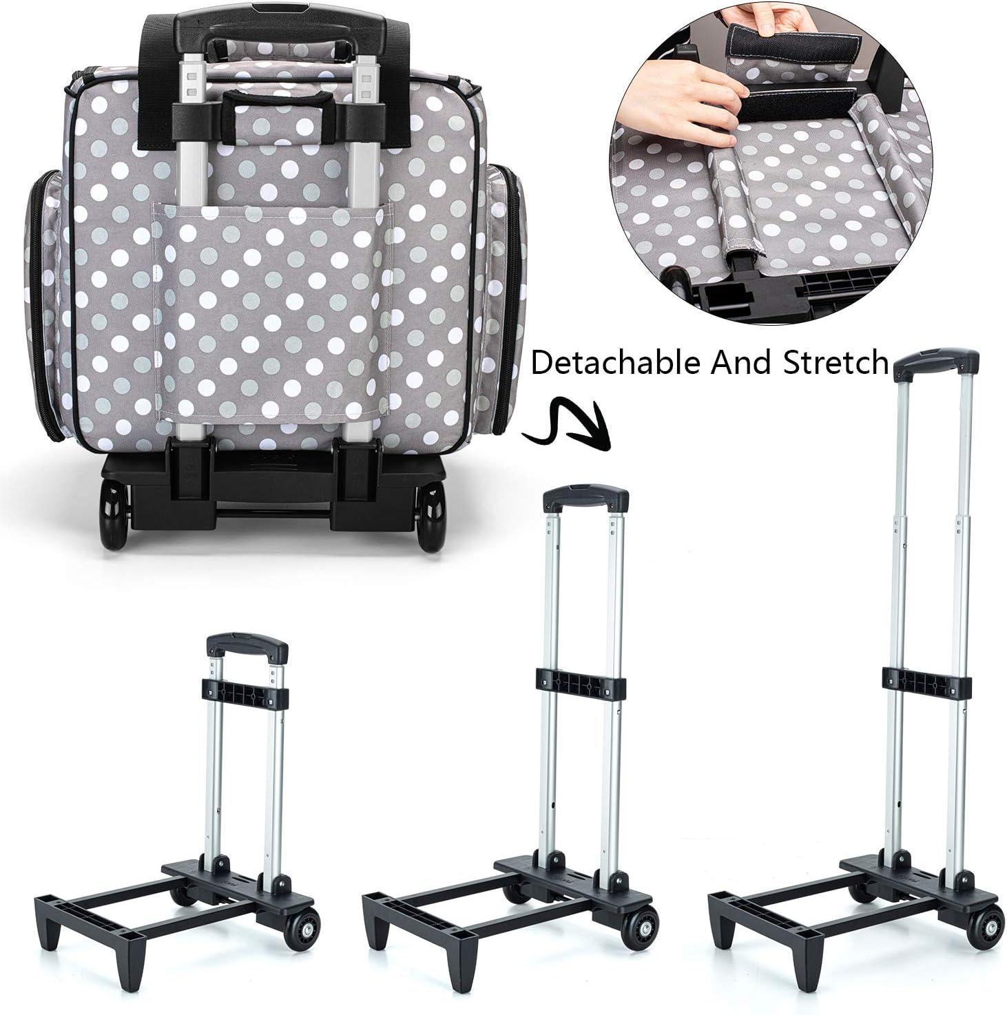 Serger Bag for Most Standard Overlocker Machine Overlocker Case with Detachable Trolley Dolly Grey Luxja Overlocker Bag