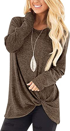 SAMPEEL Women's Casual Solid T Shirts Twist Knot Tunics Tops Blouses at  Amazon Women's Clothing store