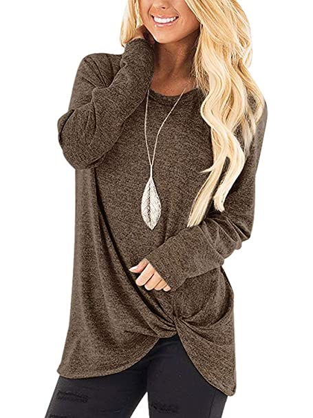 9d6124d0a8b Womens Solid Color Casual Tees Shirts Autumn Side Knot Twist Tops  Lightweight Coffee S
