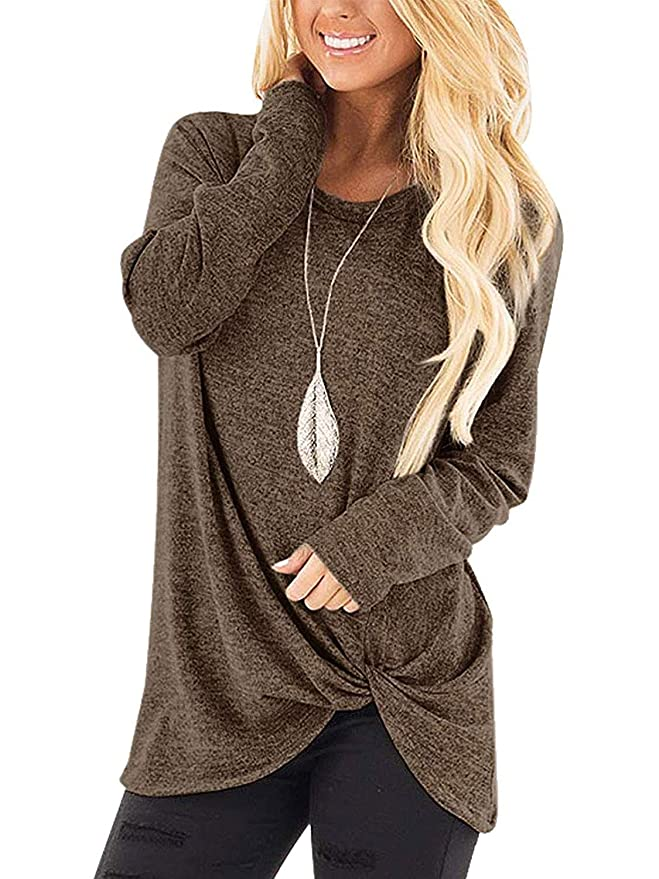 Womens Solid Color Casual Tees Shirts Autumn Side Knot Twist Tops Lightweight Coffee S