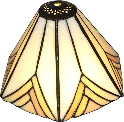 NOSHY Premium Tiffany SH-028 Hexagon Stained Glass Lampshades Replacement for Table Lamp, 8.3 Inch Diagonal, Exclusion Accessories, Pack of 1