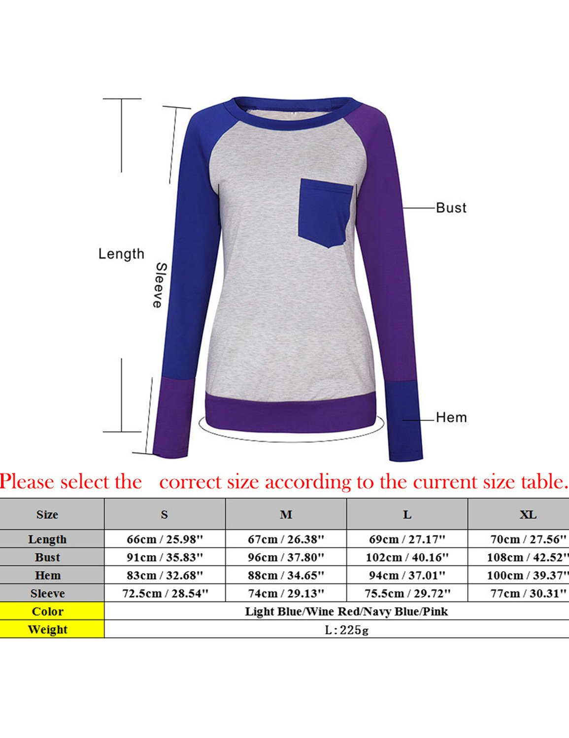 Naier Women T Shirt Top Long Sleeve Color Splicing For Leggings Jeans (L, Light Blue) by Naier (Image #3)