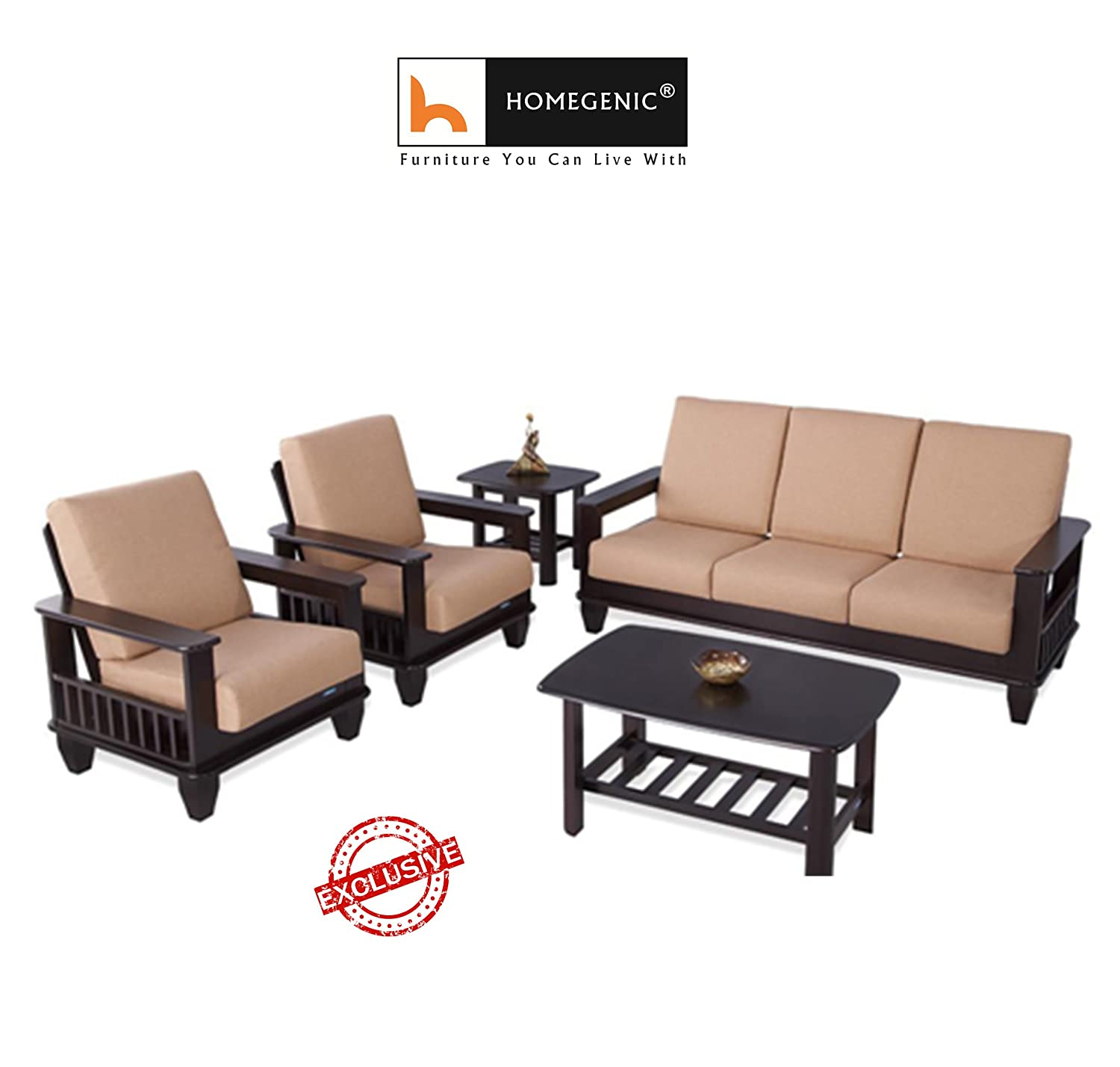 Nilkamal Wooden with Fabric Manhattan Sofa Set 9+9+9 (Cappuccino