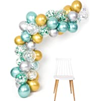 Green Gold Silver Metallic Balloons Garland Arch Kit 12inch 50pcs for Jungle Theme Party Supplies Baby Shower Birthday…