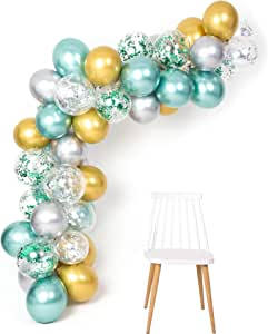 Green Gold Silver Metallic Balloons Garland Arch Kit 12inch 50pcs for Jungle Theme Party Supplies Baby Shower Birthday Wedding Decorations