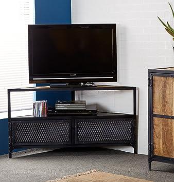 Indian Hub Ascot Industrial Corner Tv Stand Wood Natural Wood Dark