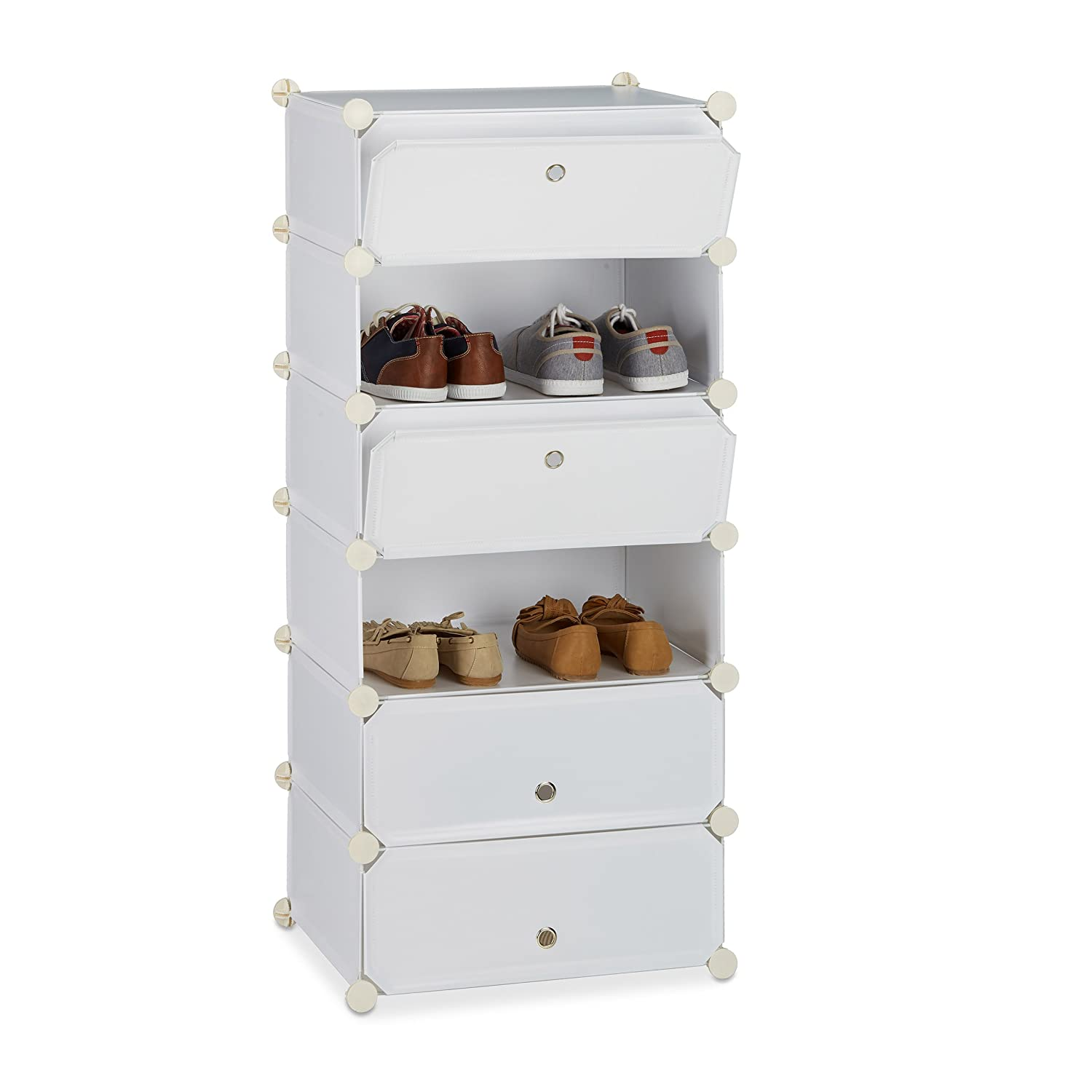 Relaxdays Plastic Shoe Cabinet, Shoe Rack, 6 Compartment Shelving Unit, HWD: 107 x 49 x 37 cm, Black 10021962_46