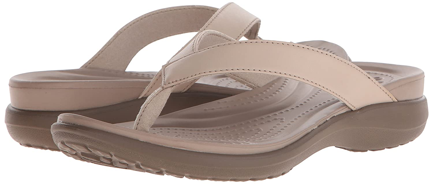 Crocs Womens Capri V Flip Flop Lightweight Beach Shoe Casual Sandal With Extra Soft Footbed and Soft Leather Straps