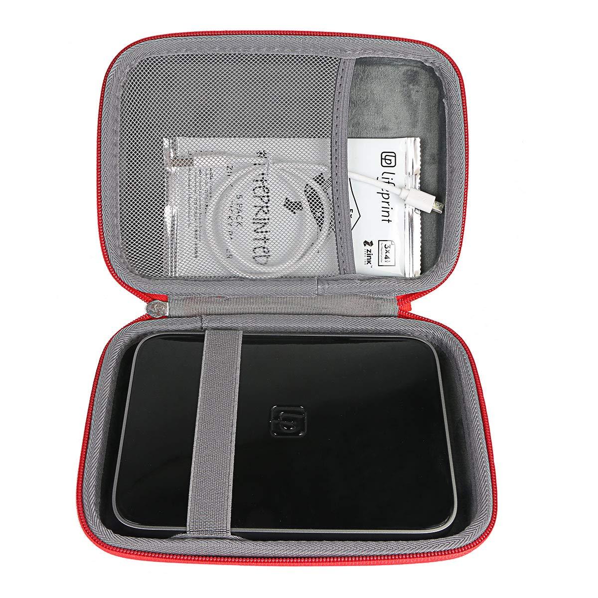 co2crea Hard Travel Case for Lifeprint 3x4.5 Portable Photo Video Printer (Red)