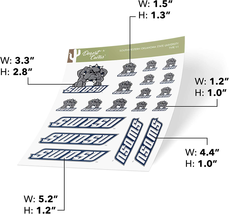 Type 1 Sheet Southwestern Oklahoma State University SWOSU Bulldogs NCAA Sticker Vinyl Decal Laptop Water Bottle Car Scrapbook