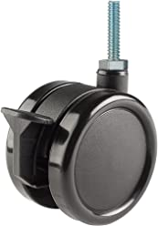 Twin Wheel Caster Solutions TWHN-50N-T03-BK-B 2 Diameter Nylon Wheel Hooded Brake Caster 1//4-20 Diameter x 1 Length Threaded Stem 110 lb Capacity Range