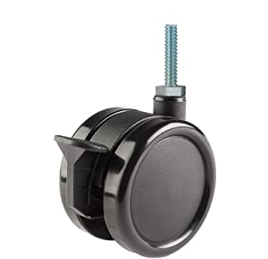 "Twin Wheel Caster Solutions TWUN-75U-T03-BK-B 3"" Diameter Nylon Wheel Unhooded Brake Caster, 1/4-20"" Diameter x 1"" Length Threaded Stem, 132 lb Capacity Range,Black"